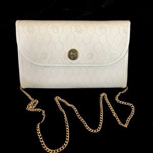 Authentic Christian Dior White Leather Clutch